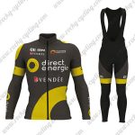 2017 Team Direct Energie VENDEE Cycling Long Bib Suit Black Yellow