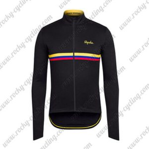 2017 Team Rapha Cycling Long Jersey Black Yellow Red