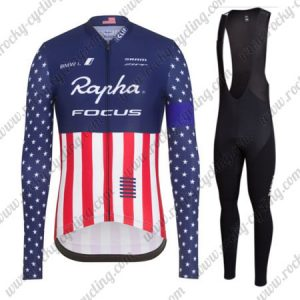 2017 Team Rapha FOCUS American Champion Cycling Long Bib Suit Blue Red