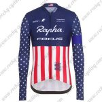 2017 Team Rapha FOCUS American Champion Cycling Long Jersey Blue Red