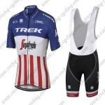 2017 Team TREK Segafredo US American Champion Cycling Bib Kit Blue Red