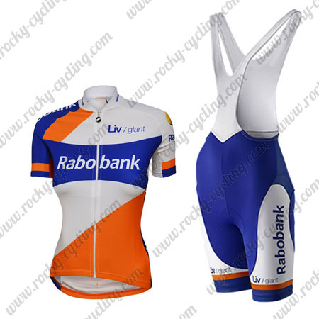 2015 Team Rabobank Womens Ladies  Racing Outfit Cycle Jersey and Padded Bib  Shorts White Blue Orange 5426cb23d