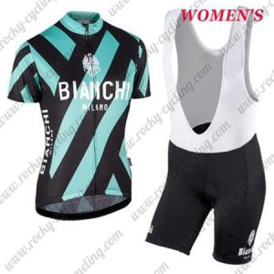 2017 Team BIANCHI Womens Lady Cycling Bib Kit Black Blue