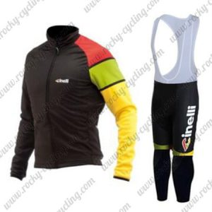 2017 Team Cinelli Cycling Long Bib Suit Black Yellow Red