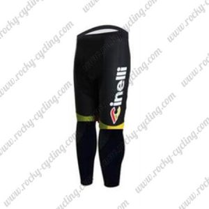 2017 Team Cinelli Cycling Long Pants Tights Black Yellow Red