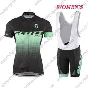 2017 Team SCOTT Womens Lady Cycle Bib Kit Black Green