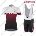 2017 Team SCOTT Womens Lady Cycling Bib Kit White Red Black