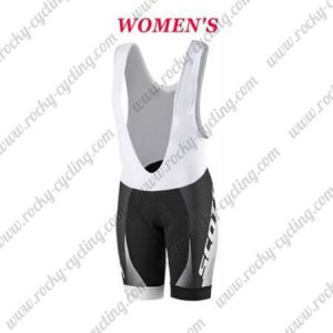 2017 Team SCOTT Womens Lady Cycling Bib Shorts Bottoms Black White