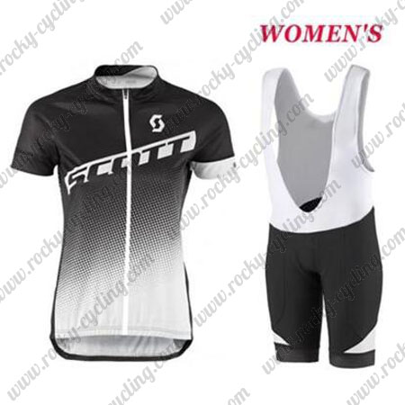 2017 Team SCOTT Womens Ladies  Racing Outfit Cycle Jersey and Padded Bib  Shorts Black White 1b86ce812
