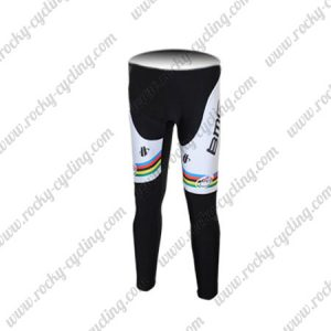 2011 Team BMC UCI Champion Cycle Pants Tights Black White Rainbow