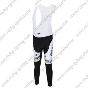 2011 Team BMC UCI Champion Cycling Long Bib Pants Tights Black White Rainbow