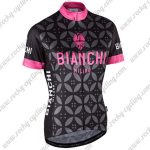 2017 Team BIANCHI MILANO Riding Jersey Maillot Shirt Black Pink Flower
