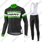 2017 Team GIANT Cycling Long Bib Suit Black White Green
