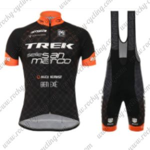 2017 Team TREK San Marco Cycling Bib Set Black Orange