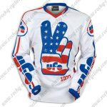 2016 UFO Vintage MTB Apparel Off Road Riding Jersey White Blue Red
