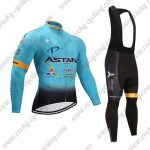 2017 Team ASTANA Cycling Long Bib Suit Blue Black