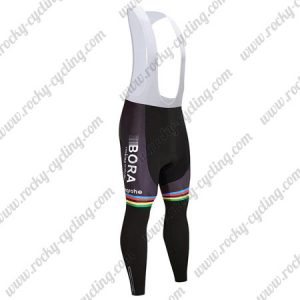 2017 Team BORA hansgrohe UCI Champion Cycling Long Bib Pants Tights Black Rainbow