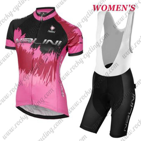 2017 Team Nalini Womens Ladies  Racing Outfit Cycle Jersey and Padded Bib  Shorts Pink Black f3e21962c