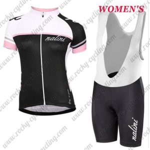 2017 Team Nalini Women's Cycling Bib Kit White Black Pink