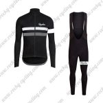 2017 Team Rapha Cycling Long Bib Suit Black White Grey