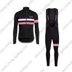 2017 Team Rapha Cycling Long Bib Suit Black White Pink