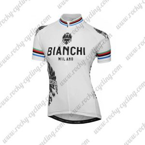 2016 Team BIANCHI Womens Cycling Jersey Maillot Shirt White Rainbow