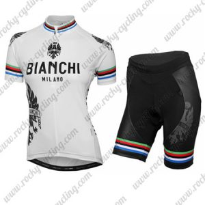 2016 Team BIANCHI Womens Cycling Kit White Rainbow