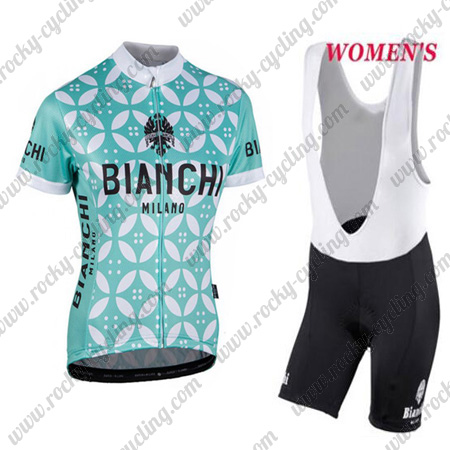 2017 Team BIANCHI Womens Ladies  Racing Outfit Cycle Jersey and Padded Bib  Shorts Blue White Flowers c1c9a3295