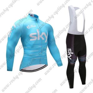 2017 Team SKY Cycling Long Bib Suit Blue