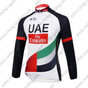 2017 Team UAE Fly Emirates Cycling Long Jersey White Black Red Green
