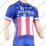 2018 Team AQUABLUE Cycling Jersey Shirt Blue Red