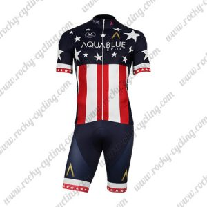 2018 Team AQUABLUE Cycling Kit Blue Red