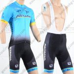 2018 Team ASTANA Cycling Bib Kit Blue Black