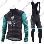 2018 Team BIANCHI Cycling Long Bib Suit Black Blue