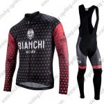 2018 Team BIANCHI Cycling Long Bib Suit Black Red