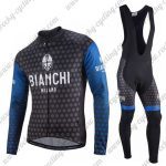 2018 Team BIANCHI Cycling Long Bib Suit Dark Blue Black