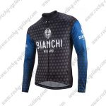 2018 Team BIANCHI Cycling Long Jersey Dark Blue Black
