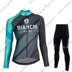 2018 Team BIANCHI Womens Biking Suit Black Blue