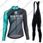 2018 Team BIANCHI Womens Cycling Bib Suit Black Blue