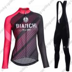 2018 Team BIANCHI Womens Cycling Bib Suit Black Red