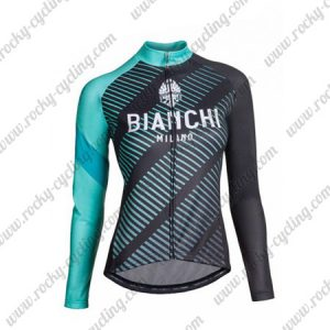 2018 Team BIANCHI Womens Cycling Jersey Black Blue