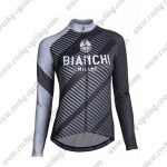 2018 Team BIANCHI Womens Cycling Jersey Black Grey