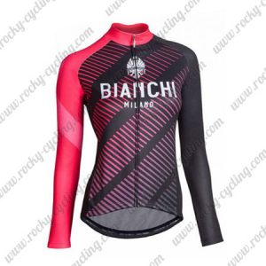 2018 Team BIANCHI Womens Cycling Jersey Black Red