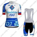 2018 Team FDJ Cycling Bib Kit White Blue