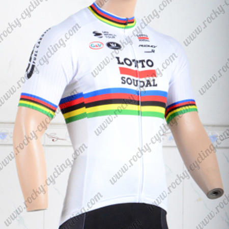 2018 Team LOTTO SOUDAL UCI Champion Cycling Jersey Shirt White Rainbow 3fc4d2985