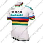 2018 Team BORA hansgrohe UCI Champion Cycling Jersey Maillot Shirt White Rainbow