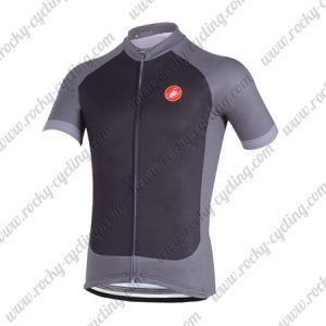 2018 Team Castelli Cycling Jersey Maillot Shirt Black Grey