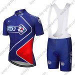 2018 Team FDJ Cycle Bib Kit Blue Red