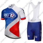 2018 Team FDJ Cycling Bib Kit Blue White Red