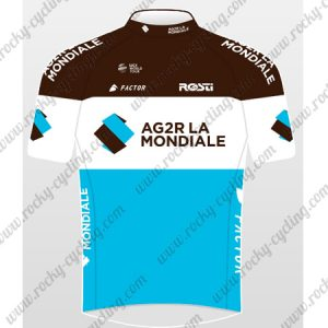 2018 Team AG2R LA MONDIALE Cycling Jersey Maillot Shirt Brown White Blue